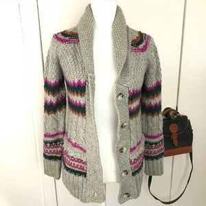 Zara chunky knit wool blend sweater grey warm S